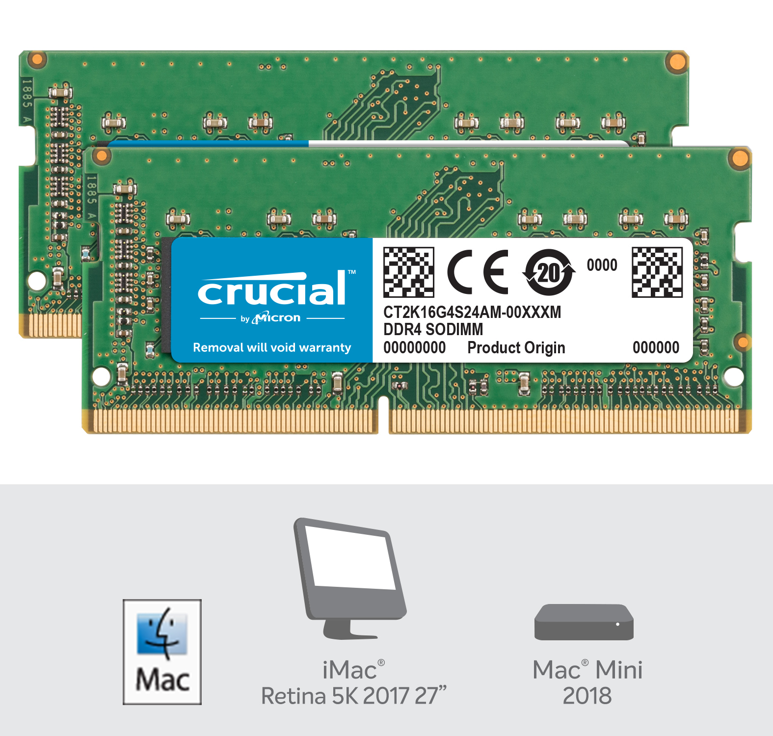 Crucial 32GB Kit (2 x 16GB) DDR4-2400 SODIMM Memory for Mac- view 2