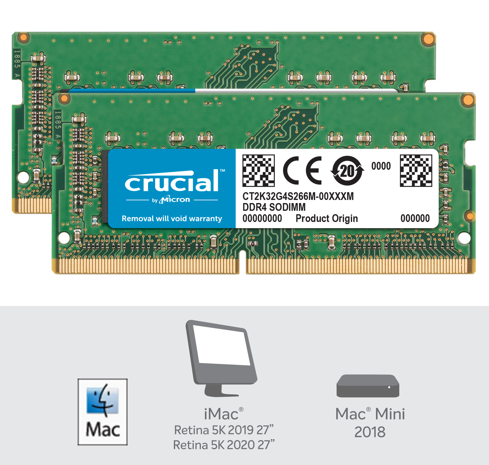 Crucial 64GB Kit (2 x 32GB) DDR4-2666 SODIMM Memory for Mac- view 2