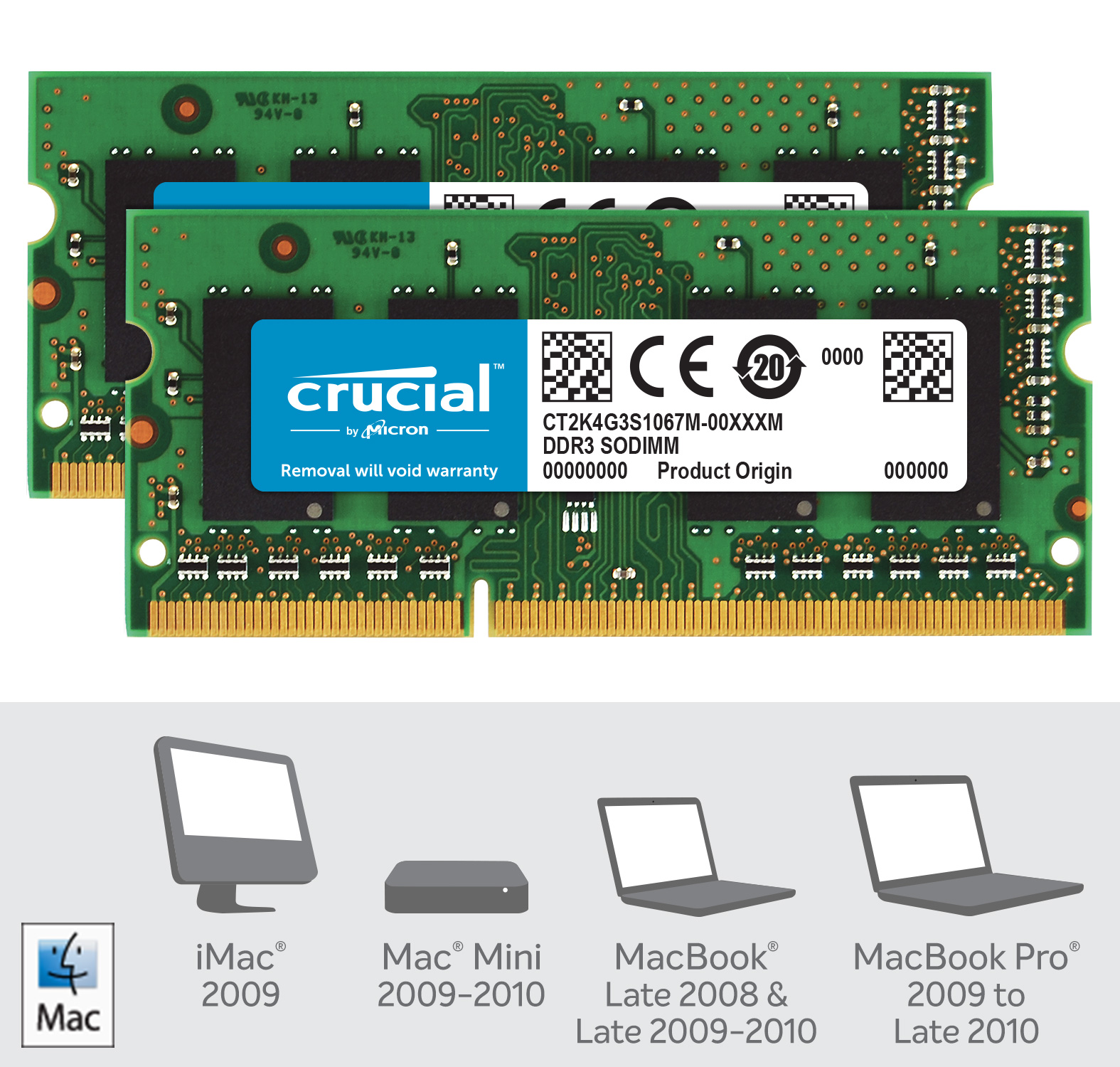 Crucial 8GB Kit (2 x 4GB) DDR3-1066 SODIMM Memory for Mac- view 2