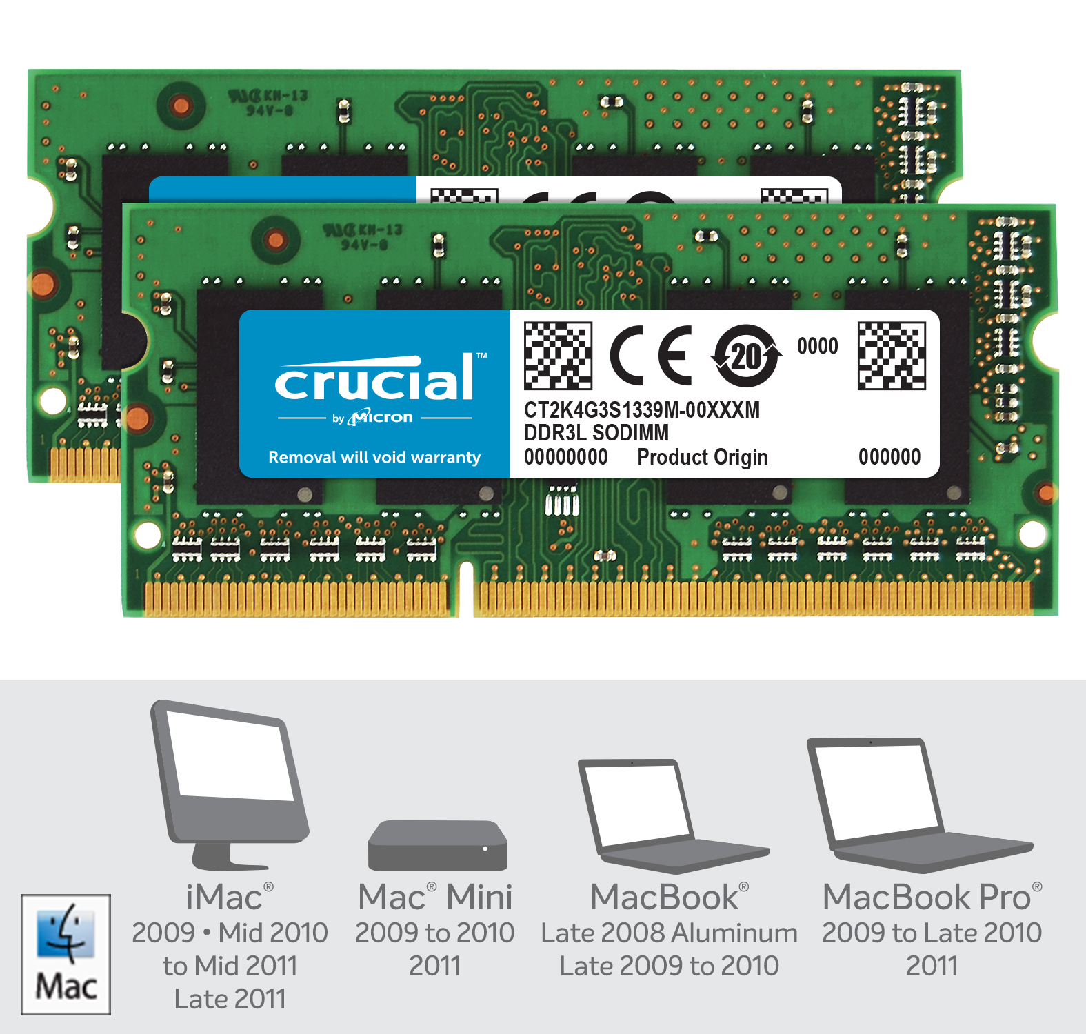 Crucial 8GB Kit (2 x 4GB) DDR3L-1333 SODIMM Memory for Mac- view 2