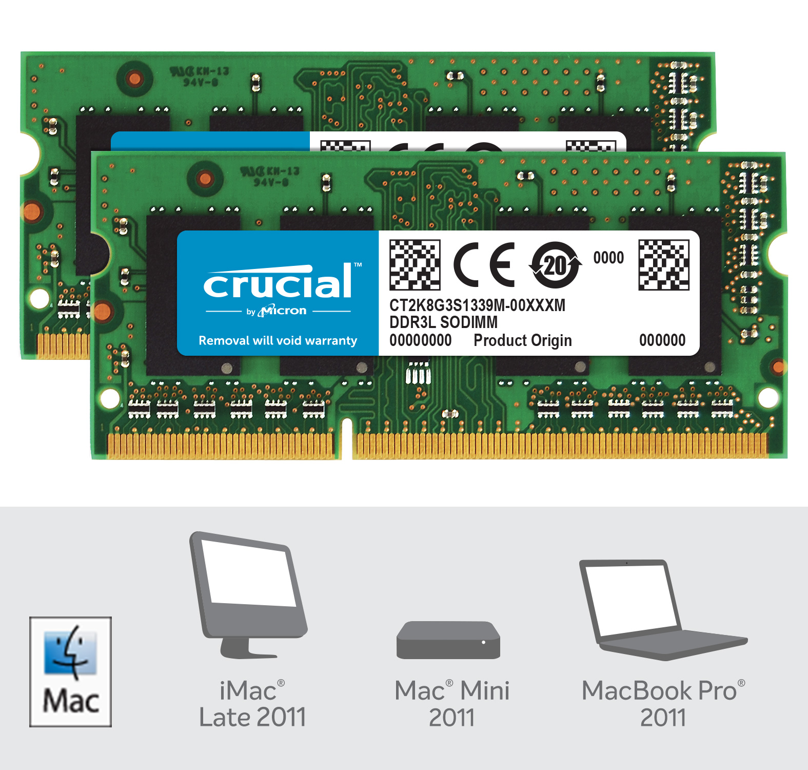 Crucial 16GB Kit (2 x 8GB) DDR3L-1333 SODIMM Memory for Mac- view 2