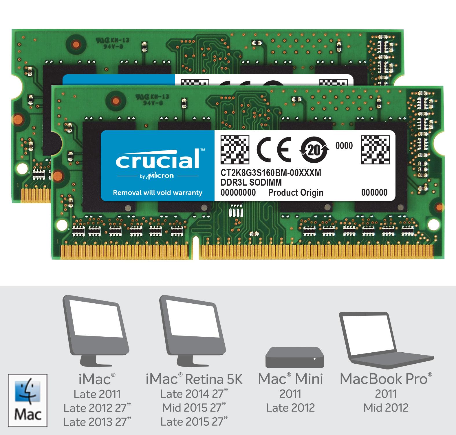 Crucial 16GB Kit (2 x 8GB) DDR3L-1600 SODIMM Memory for Mac- view 2