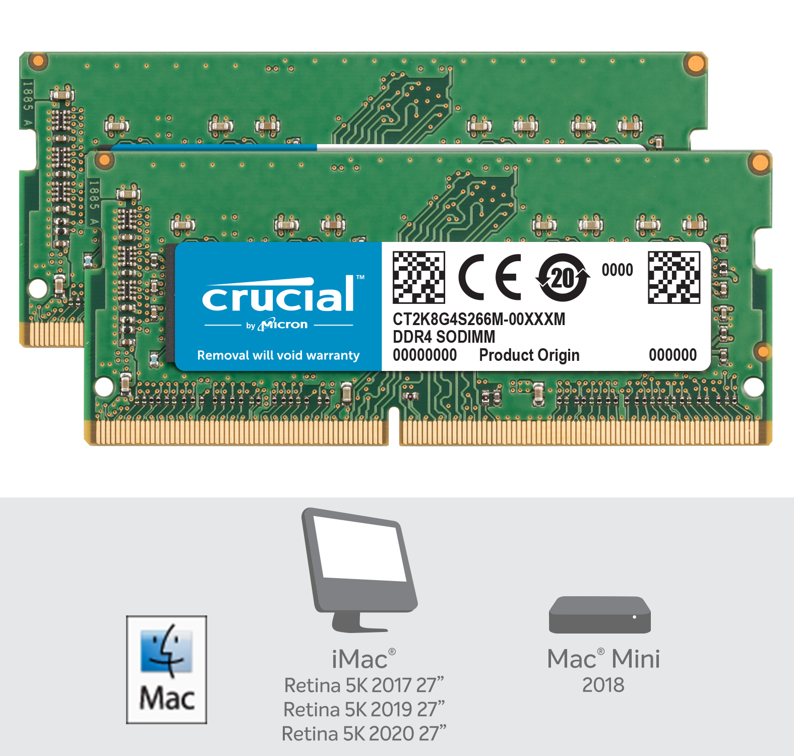 Crucial 16GB Kit (2 x 8GB) DDR4-2666 SODIMM Memory for Mac- view 2