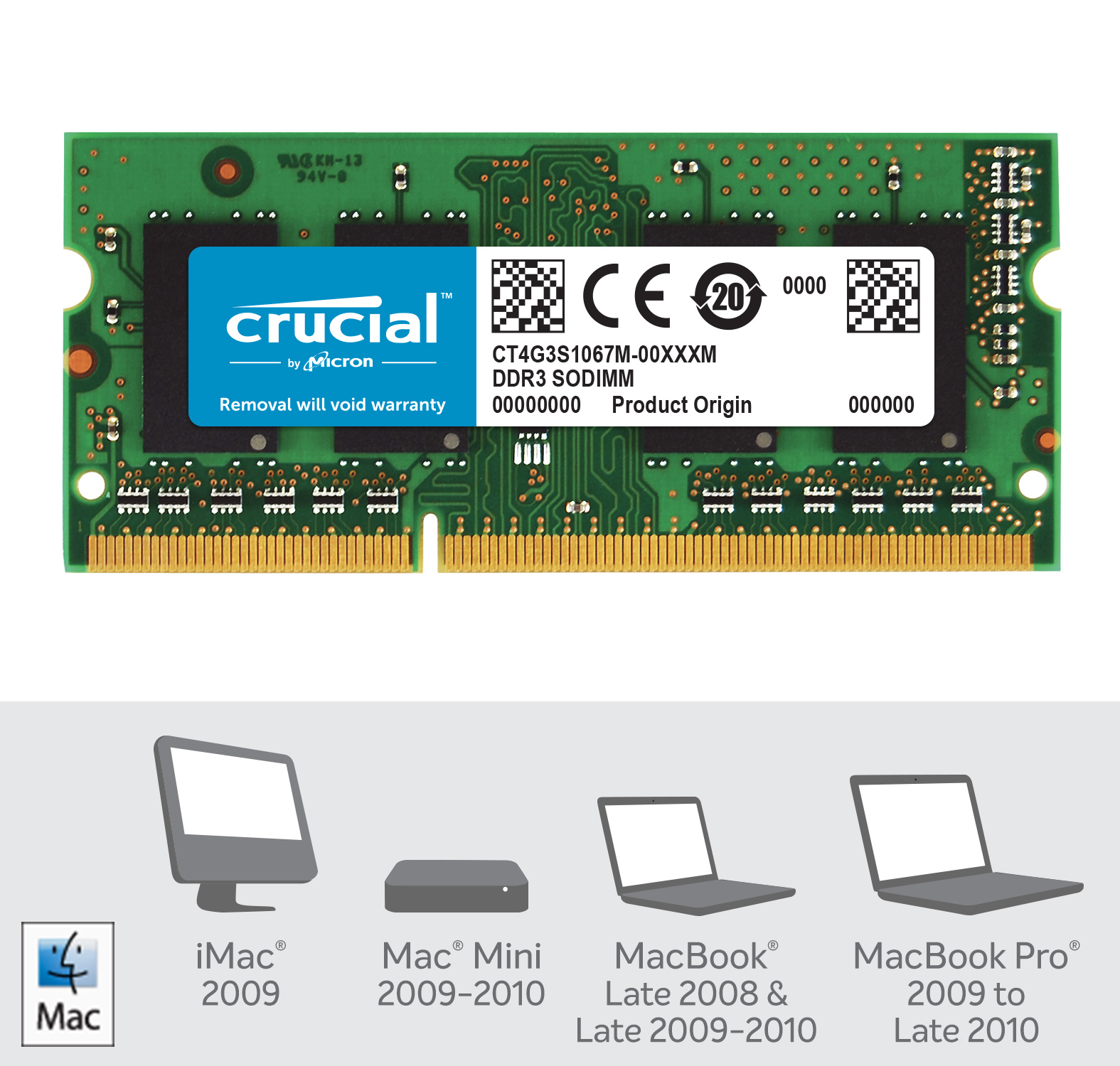 Crucial 4GB DDR3-1066 SODIMM Memory for Mac- view 2