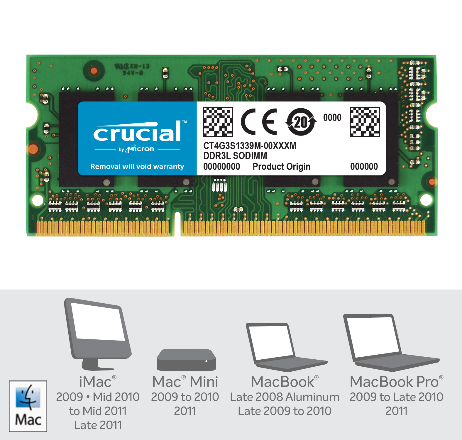 Crucial 4GB DDR3L-1333 SODIMM Memory for Mac- view 2