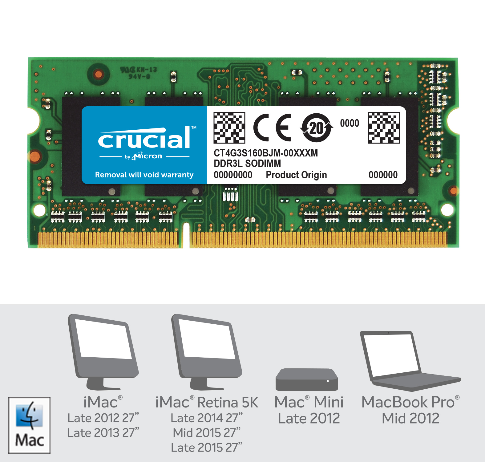 Crucial 4GB DDR3L-1600 SODIMM Memory for Mac- view 2