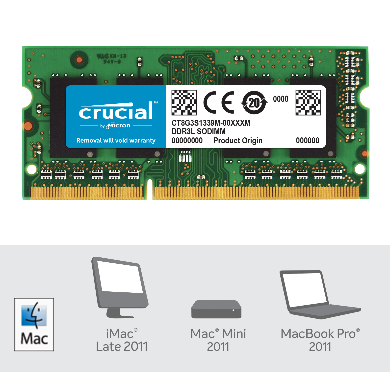 Crucial 8GB DDR3L-1333 SODIMM Memory for Mac- view 2