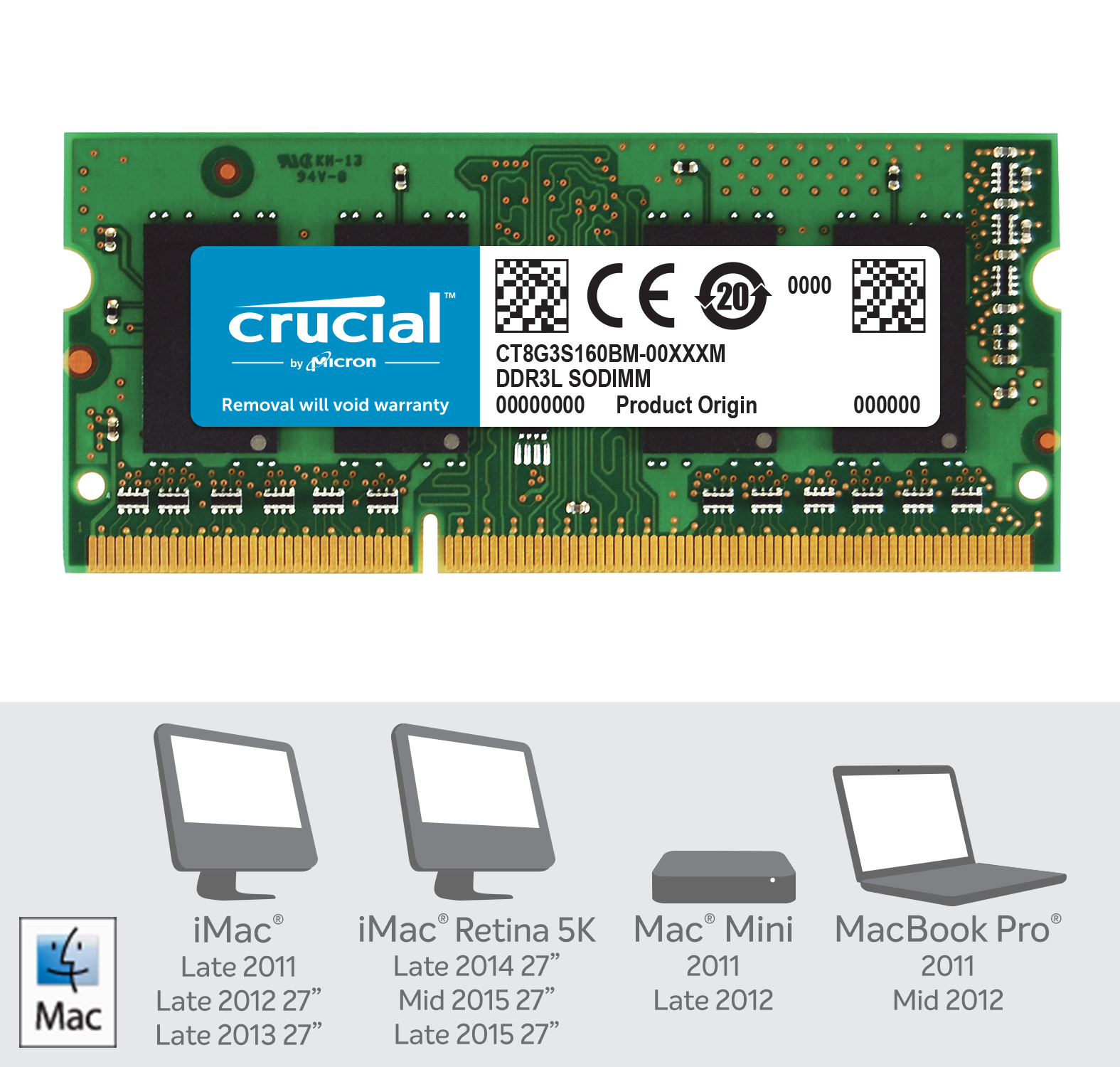 Crucial 8GB DDR3L-1600 SODIMM Memory for Mac- view 2