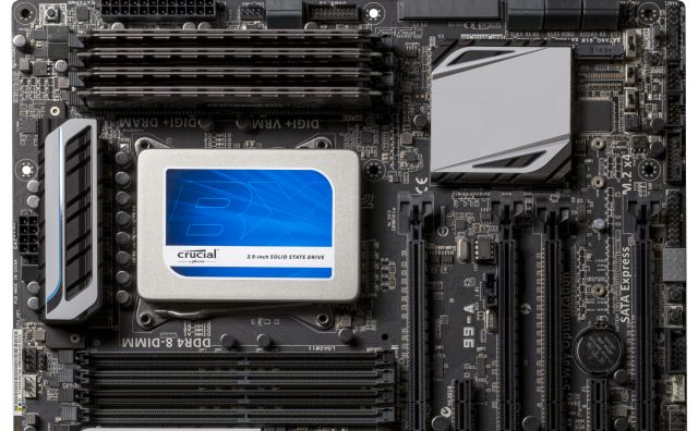 Crucial solid-state drive (SSD) installed in a computer