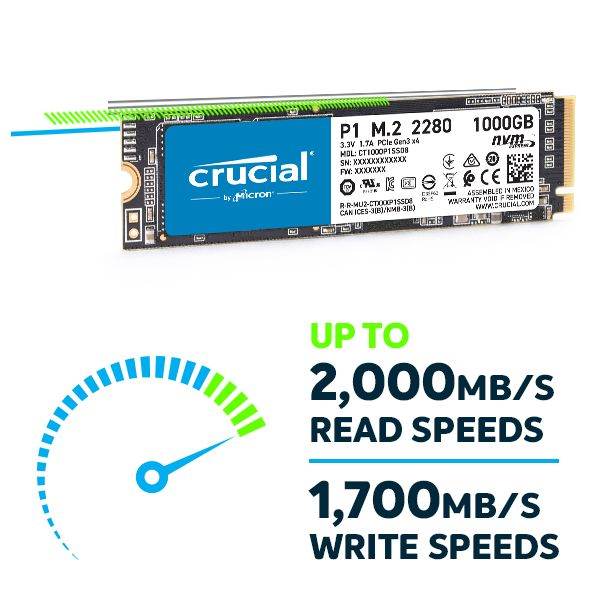 Crucial® P1 SSD -  NVMe™ PCIe® technology delivers speeds 2,000/1,700 MB/s